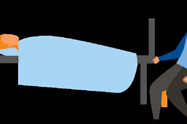 Illustrasjon pasient i seng og pårørende på besøk